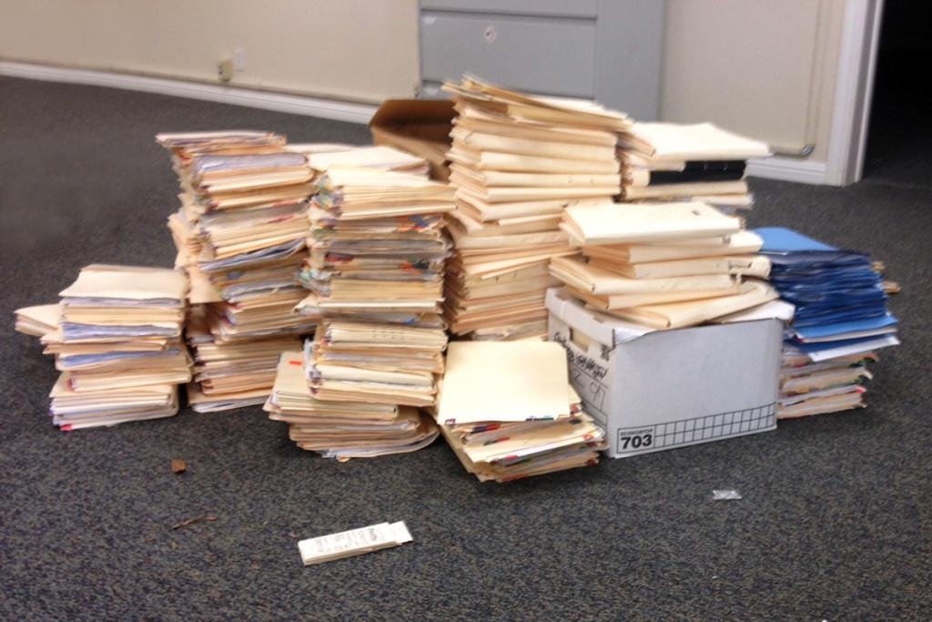 Stacks of files.