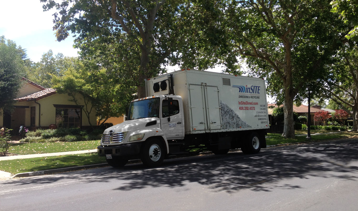 on site shredding for your home - mobile truck in operation