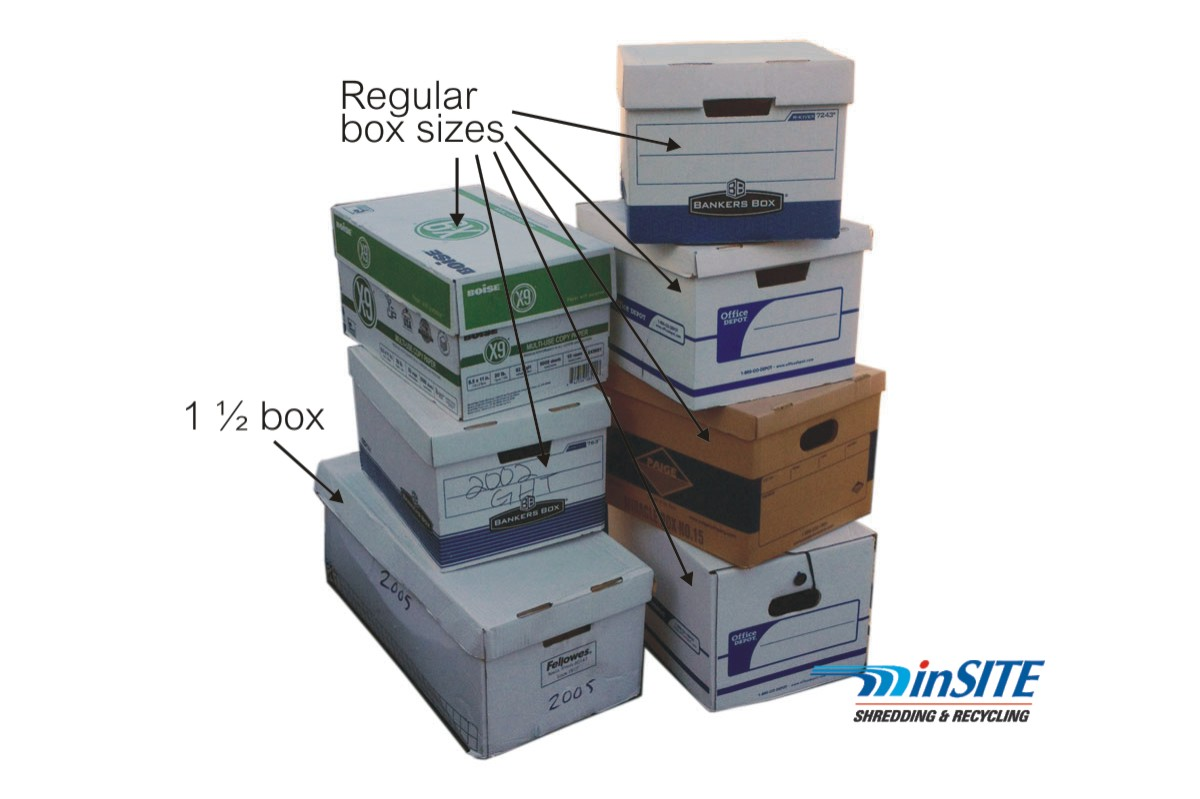 residential on site shredding quote box sizes