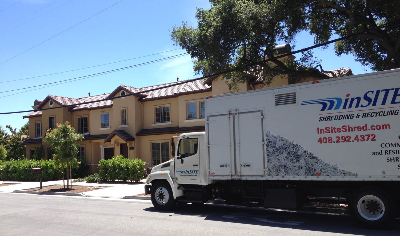 on site shredding for residents - mobile truck in operation